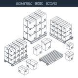 Grupo de caixas de cartão dos ícones Imagem de Stock