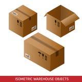 Grupo de caixas de cartão isométricas isoladas no fundo branco Fotos de Stock Royalty Free