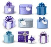Grupo de caixas de presente coloridas com curvas e fitas. Imagens de Stock Royalty Free