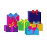 Grupo de caixas de presente envolvidas coloridas diferentes Projeto liso Presente bonito com curva Símbolo e ícone para a caixa d Fotos de Stock Royalty Free