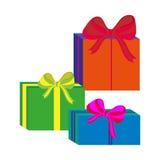 Grupo de caixas de presente envolvidas coloridas diferentes Projeto liso Presente bonito com curva Símbolo e ícone para a caixa d Fotografia de Stock