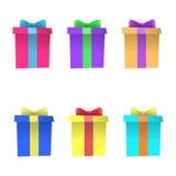 Grupo de caixas de presente multi-coloridas Vetor Fotos de Stock Royalty Free