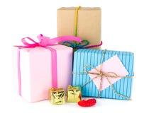 Grupo de caixas de presente no branco Fotografia de Stock