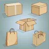 Grupo de caixas e de sacos para empacotar foto de stock royalty free