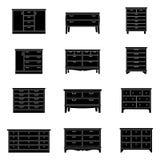 Grupo de caixas de gavetas, ilustração do vetor Foto de Stock Royalty Free