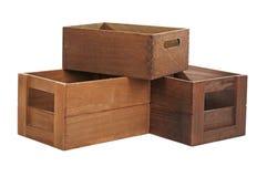 Grupo de caixas de madeira vazias Imagem de Stock Royalty Free