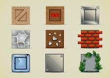 Grupo de caixas para criar o jogo de vídeo Imagens de Stock