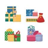 Grupo de caixas de presente dos desenhos animados com curvas e fitas Presente de Colourfull foto de stock royalty free