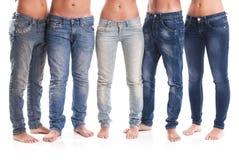 Grupo de calças de brim imagens de stock
