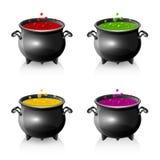 Grupo de caldeirões de Dia das Bruxas Fotografia de Stock Royalty Free