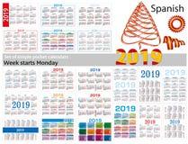 Grupo de calendários simples do bolso para 2019 dois mil dezenove A semana começa segunda-feira Tradução do espanhol - Imagem de Stock