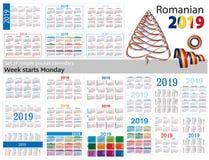 Grupo de calendários simples do bolso para 2019 dois mil dezenove A semana começa segunda-feira Tradução do Romanian - Imagem de Stock Royalty Free