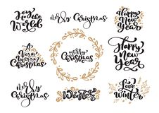 Grupo de caligrafia do vintage do Feliz Natal que rotula o texto do vetor com o inverno que tira elementos escandinavos do projet ilustração stock