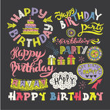 Grupo de caligrafia tirada mão Pen Brush do feliz aniversario ilustração royalty free