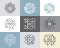 Grupo de caligráfico, conceito abstrato do vetor dos moldes da flor Fotos de Stock Royalty Free