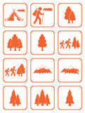 Grupo de caminhada e de ícones naturais das áreas Imagens de Stock Royalty Free