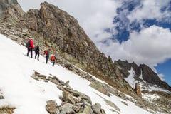 Grupo de caminhantes nos cumes suíços Fotografia de Stock