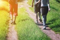 Grupo de caminhantes novos que andam abaixo de uma fuga Fotografia de Stock