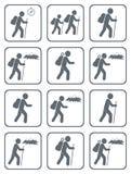 Grupo de caminhar o vetor isolado ilustração do ícone Imagens de Stock Royalty Free