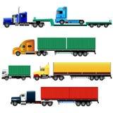 Grupo de caminhões com reboques, ilustração do vetor Imagens de Stock Royalty Free