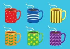 Grupo de caneca colorida ilustração royalty free