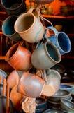 Grupo de canecas cerâmicas Foto de Stock