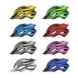 Grupo de capacetes coloridos da bicicleta ilustração do vetor