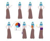 Grupo de caráter árabe da mulher do negócio com hijab A menina de sorriso em apontar do hijab está trabalhando Mulher de negócio  ilustração stock