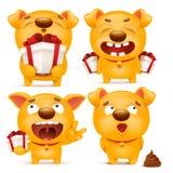 Grupo de caráter amarelo do cão do emoji dos desenhos animados Fotografia de Stock Royalty Free