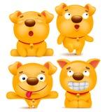 Grupo de caráter amarelo do cão do emoji dos desenhos animados Fotos de Stock