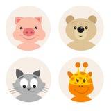 Grupo de caráter bonito do animal dos desenhos animados quatro ilustração stock