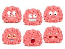 Grupo de caráter do emoji dos desenhos animados do cérebro Fotografia de Stock Royalty Free
