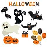 Grupo de caráter e ícones para Dia das Bruxas no estilo dos desenhos animados Imagens de Stock Royalty Free