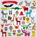 Grupo de caráter engraçado dos animais dos desenhos animados em um fundo branco zoo Fotos de Stock