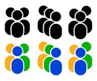 Grupo de caráter/figura símbolos, ícone - caráter três no dif Foto de Stock