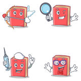 Grupo de caráter vermelho do livro com o totó da enfermeira do detetive do cupido ilustração do vetor