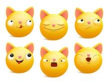 Grupo de caráteres amarelos do gato do emoji dos desenhos animados em emoções diferentes Foto de Stock Royalty Free