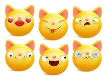 Grupo de caráteres amarelos do gato do emoji dos desenhos animados em emoções diferentes Imagens de Stock