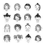 Grupo de caráteres bonitos da menina, desenhos animados para o seu ilustração royalty free