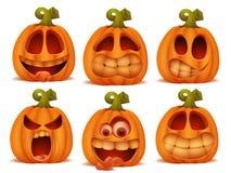 Grupo de caráteres do Dia das Bruxas da abóbora dos desenhos animados em emoções diferentes Fotos de Stock Royalty Free