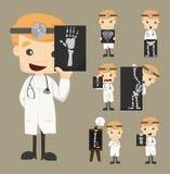 Grupo de caráteres do doutor com raio X, ultrassom ilustração do vetor