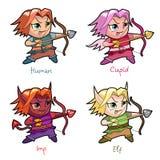 Grupo de caráteres do menino do chibi ilustração stock
