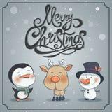 Grupo de caráteres do Natal do inverno Imagens de Stock