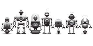 Grupo de caráteres do robô do vintage ilustração stock