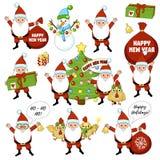 Grupo de caráteres e de decorações coloridos do Natal Grupo grande do ano novo feliz com árvore de Natal, presente, sino, galo, g Imagem de Stock