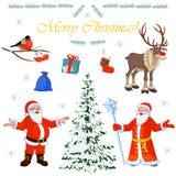 Grupo de caráteres Santa Claus do Natal e seus ajudantes pequenos, árvore do inverno e decorações florais Ilustração do vetor Imagens de Stock Royalty Free