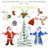 Grupo de caráteres Santa Claus do Natal e seus ajudantes pequenos, árvore do inverno e decorações florais Ilustração do vetor Foto de Stock