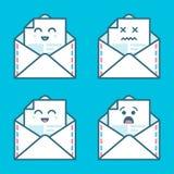 Grupo de cara do emoticon do emoji do sorriso no email com muita variação Projeto liso moderno dos ícones ilustração royalty free