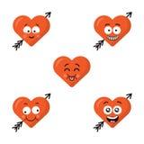Grupo de caras bonitos lisas do coração do emoji com a seta isolada no fundo branco Caras felizes dos emoticons Coleção de ilustração royalty free