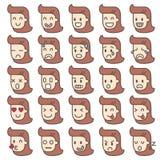 Grupo de caras da emoção caráteres das mulheres Imagens de Stock